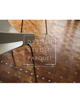 Деревянные полы Parquet In New Mosaics Collection Glitter Glam Stardust Дуб светлый + Керамика белая