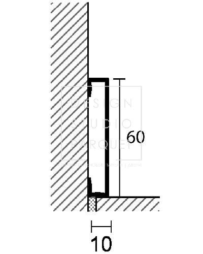 Алюминиевый плинтус Profilpas Metal Line 89/6 (алюминий анодированный, серебро)