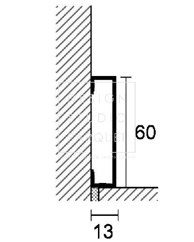 Алюминиевый плинтус Profilpas Metal Line 89/613 (алюминий анодированный, серебро)