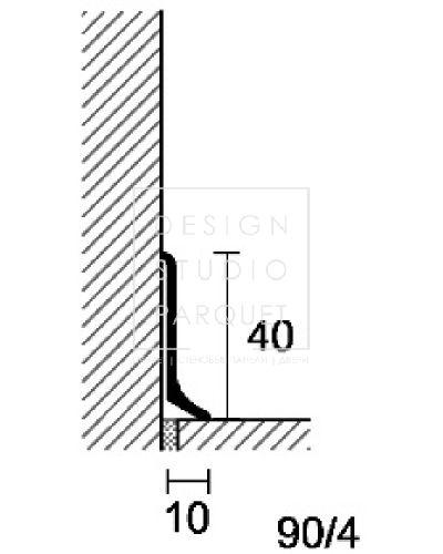 Алюминиевый плинтус Profilpas Metal Line 90/4 (алюминий анодированный, серебро)